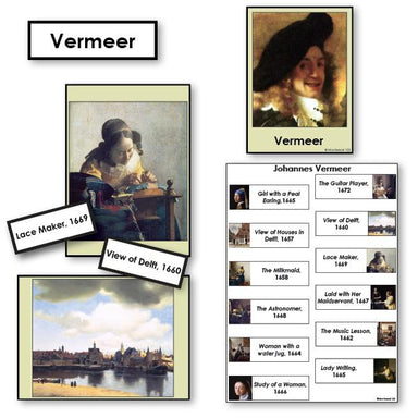 Art-Famous Artists - Vermeer 2-Part Cards Of Paintings With Biography