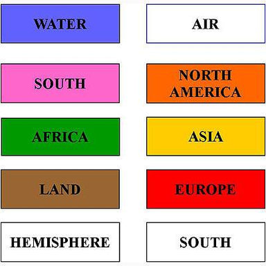 Geography Material-Flags, Maps & Globes - Beginning Labels For The Globe And World Puzzle Map