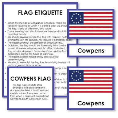 Geography Material-Flags, Maps & Globes - Historical Flags Of The United States 3-Part Cards With Descriptions