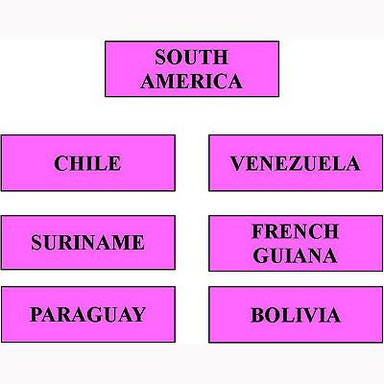 Geography Material-Flags, Maps & Globes - Labels For Countries And Waterways Of South America Level 1