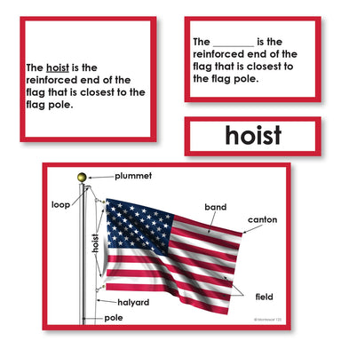 Geography Material-Flags, Maps & Globes - Parts Of A Flag 3-Part Cards