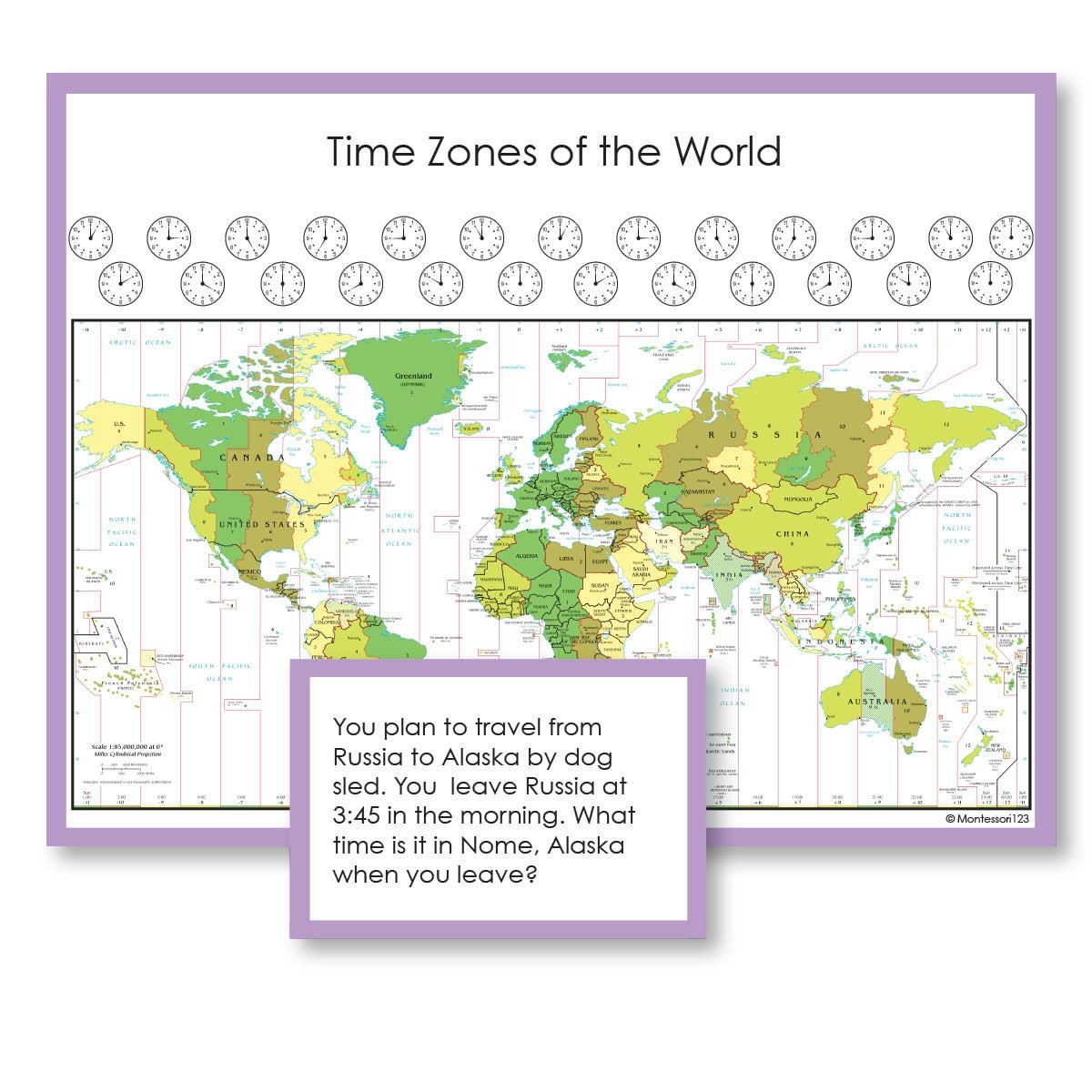 Geography Material-Flags, Maps & Globes - Time Zones, Maps And Questions For Exploration