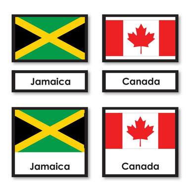 Geography Material-Flags, Maps & Globes - World Flags 3-Part Cards