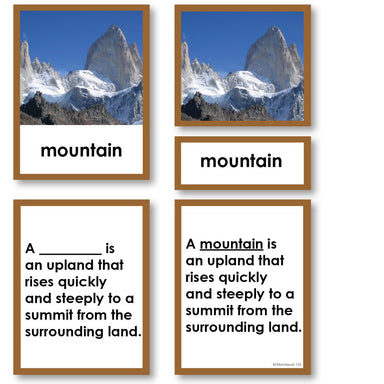 Geography Material-Landforms & Biomes - Parts Of A Mountain 3-Part Cards With Definitions