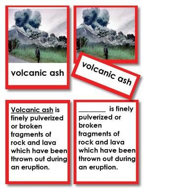 Geography Material-Landforms & Biomes - Parts Of A Volcano 3-Part Cards With Definitions
