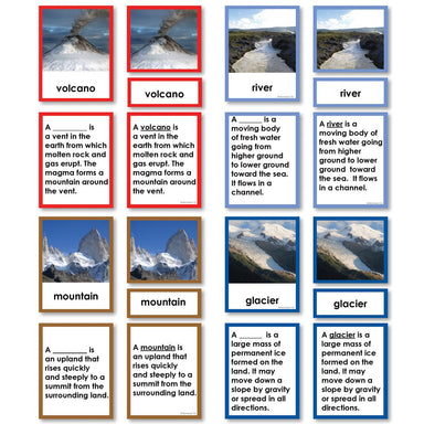 Geography Material-Landforms & Biomes - Parts Of A Volcano, River, Mountain And Glacier 3-Part Cards