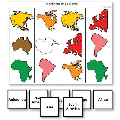 Geography Material-Study Of World Geography - Continent Identification Bingo Game By Shape And Montessori Color