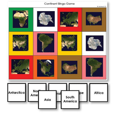 Geography Material-Study Of World Geography - Continent Identification Bingo Game With Satellite Images
