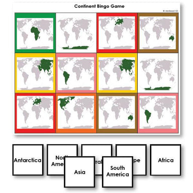 Geography Material-Study Of World Geography - Continent Identification Bingo Game With World Map Images