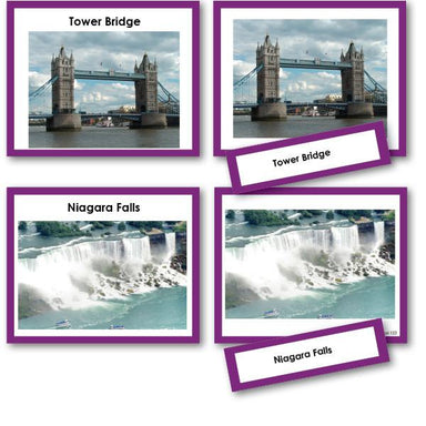 Geography Material-Study Of World Geography - Famous Landmarks Photo Set 3-Part Cards