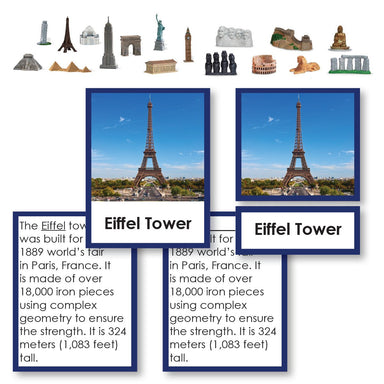 Geography Material-Study Of World Geography - World Landmarks 3-Part Cards With Descriptions And Objects