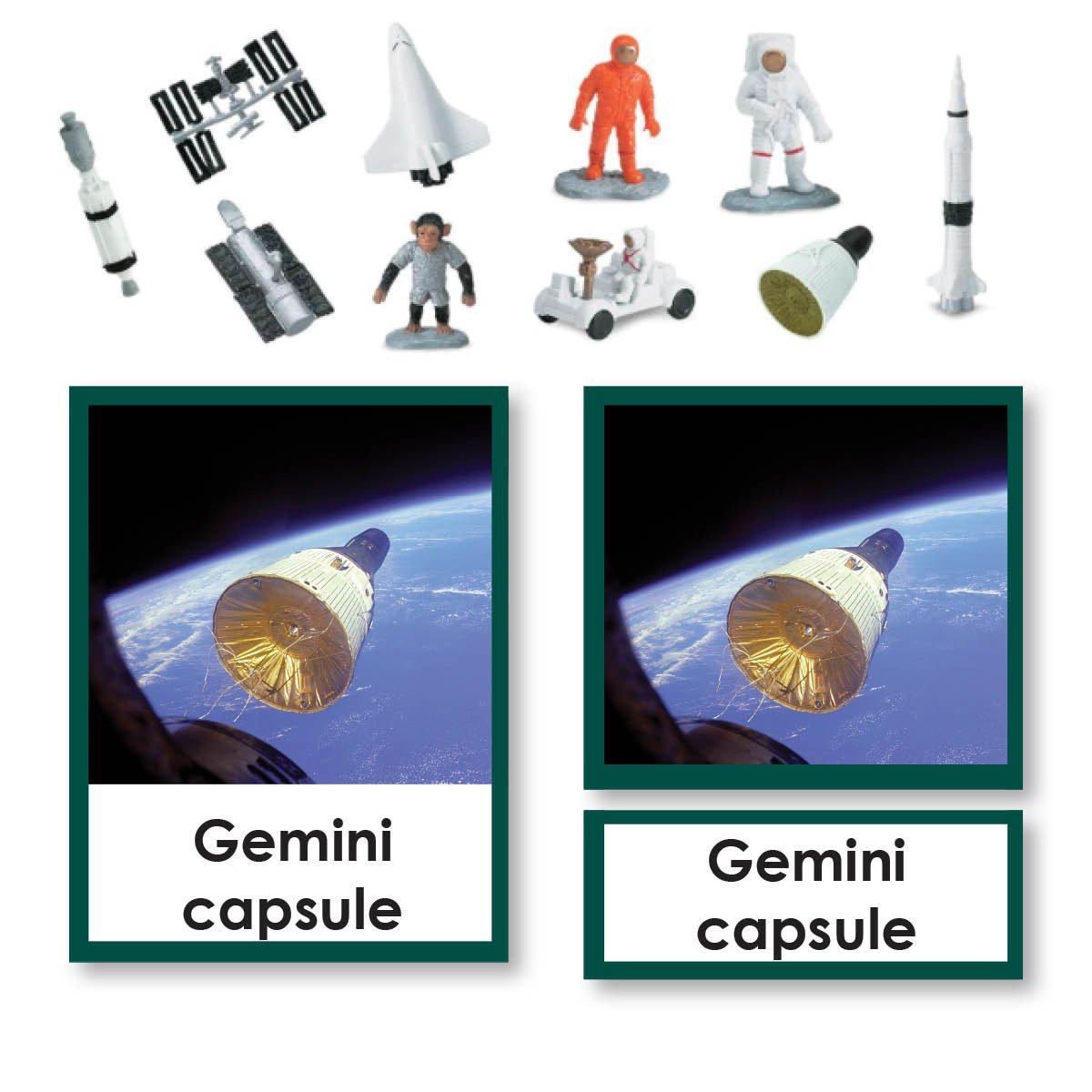 History Material-Culture - Space Travel 3-Part Cards With Objects