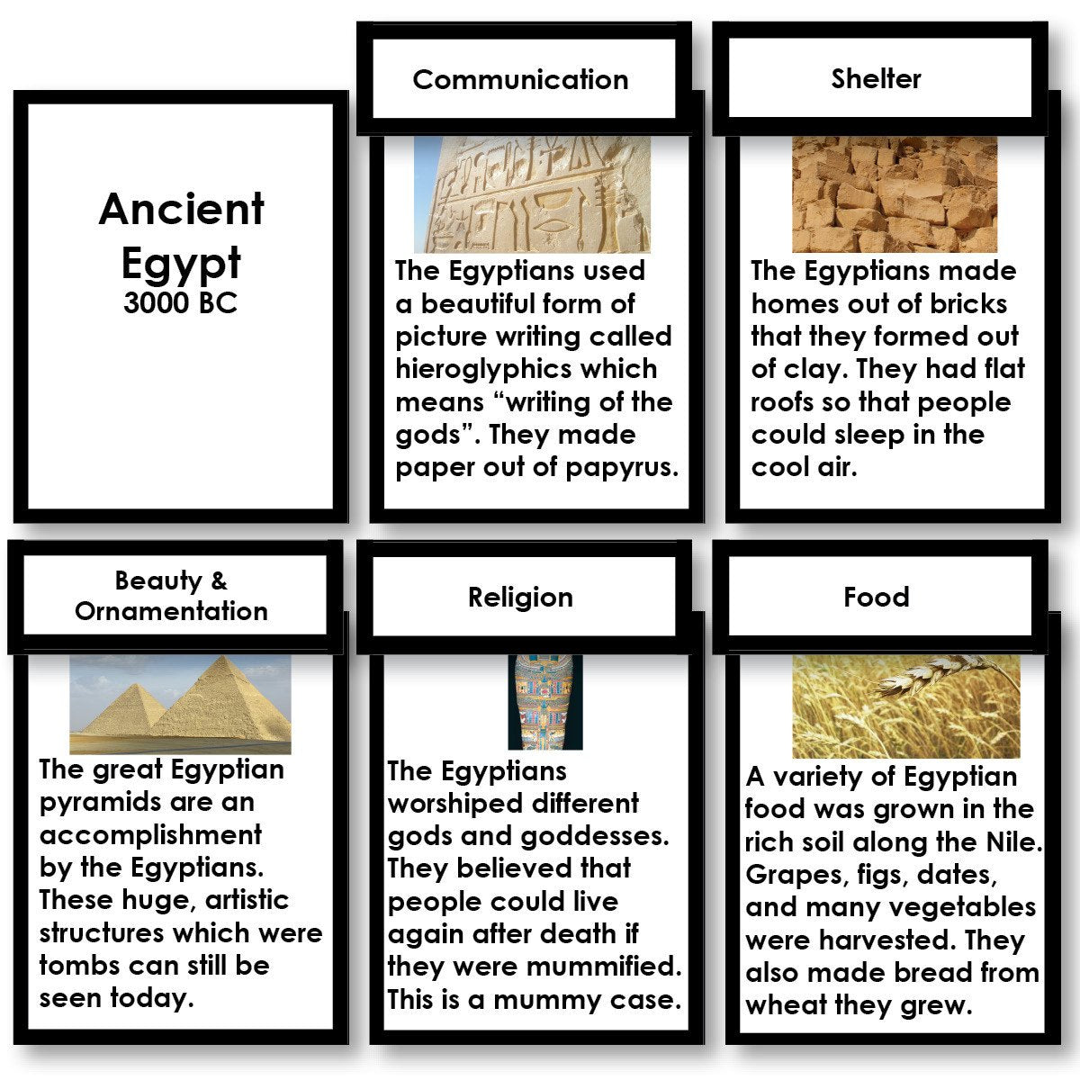 History Material-Fundamental Needs - Ancient Civilizations Fundamental Needs Research Cards