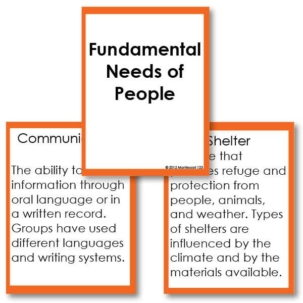 History Material-Fundamental Needs - Fundamental Needs Of People Definition Cards