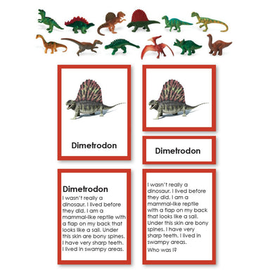 "History Material-Prehistory - Dinosaur ""Who Am I?"" 3-Part Cards With Objects"