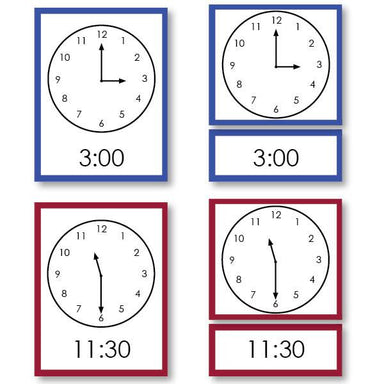 History Material-Time & Seasons - Telling Time Card Set Complete Clock Set,3-Part Cards