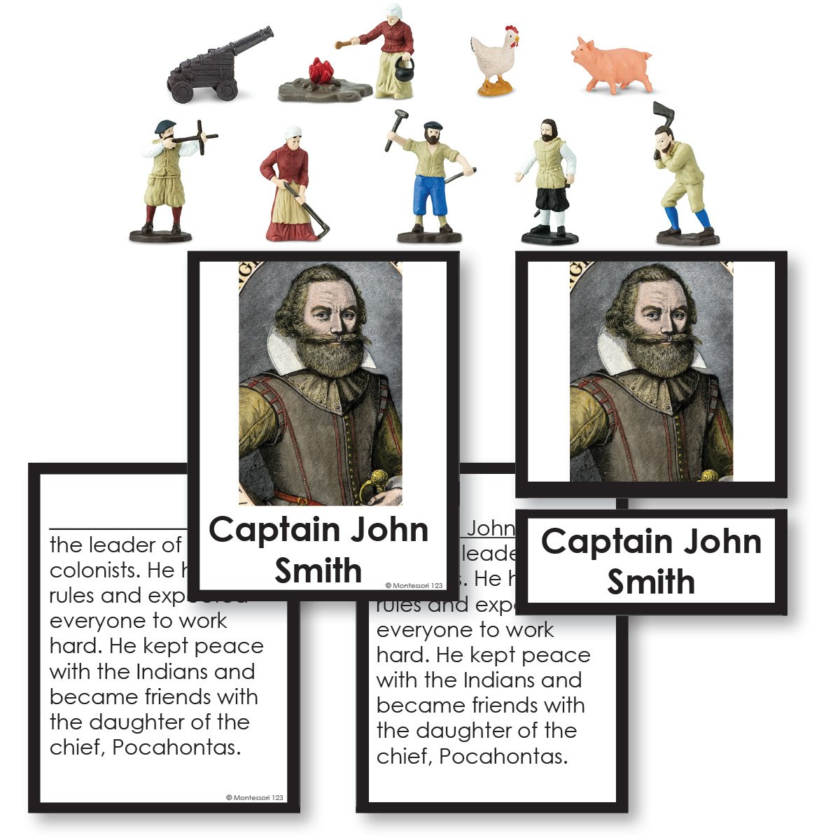History Material-United States History - Jamestown Settlers Historical Replica 3-Part Cards With Objects