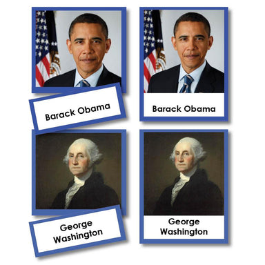 History Material-United States History - Presidents Of The United States 3-Part Cards With Photographs