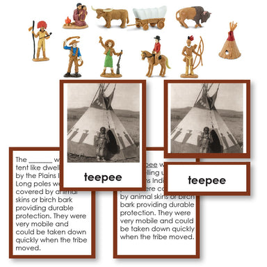 History Material-United States History - Westward Movement Historical Replica 3-Part Cards With Objects