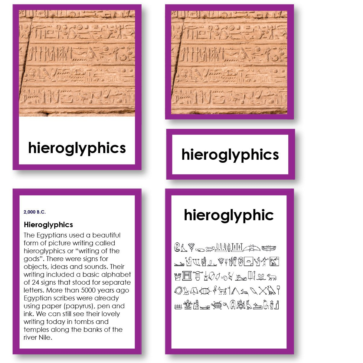 History Material-World History - History Of Writing 3-Part Cards With Descriptions