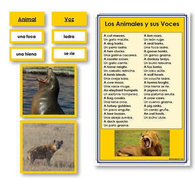 Language Arts-Spanish - Spanish Animals And Their Voices Vocabulary Sorting Cards With Photographs