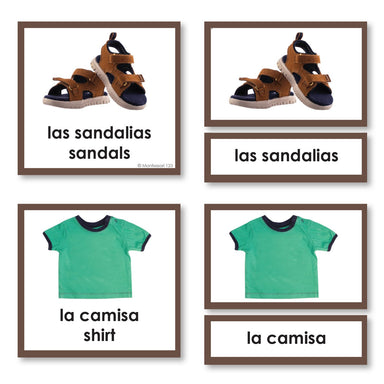 Language Arts-Spanish - Spanish Language Clothing 3-Part Cards With Photographs