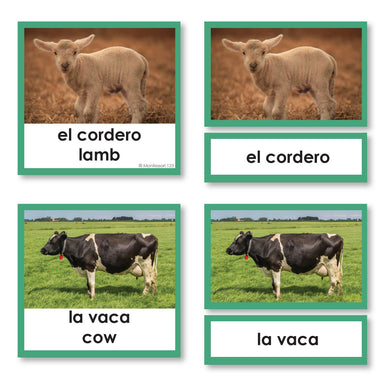 Language Arts-Spanish - Spanish Language Farm Animals 3-Part Cards With Photographs