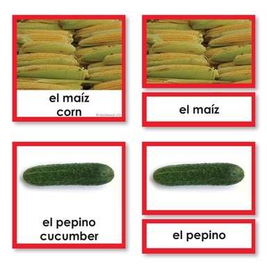 Language Arts-Spanish - Spanish Language Fruits And Vegetables 3-Part Cards With Photographs