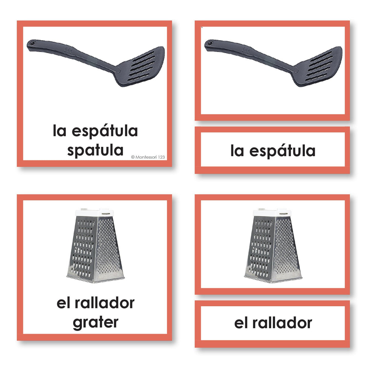 Spanish Language Kitchen 3-Part Cards With Photographs