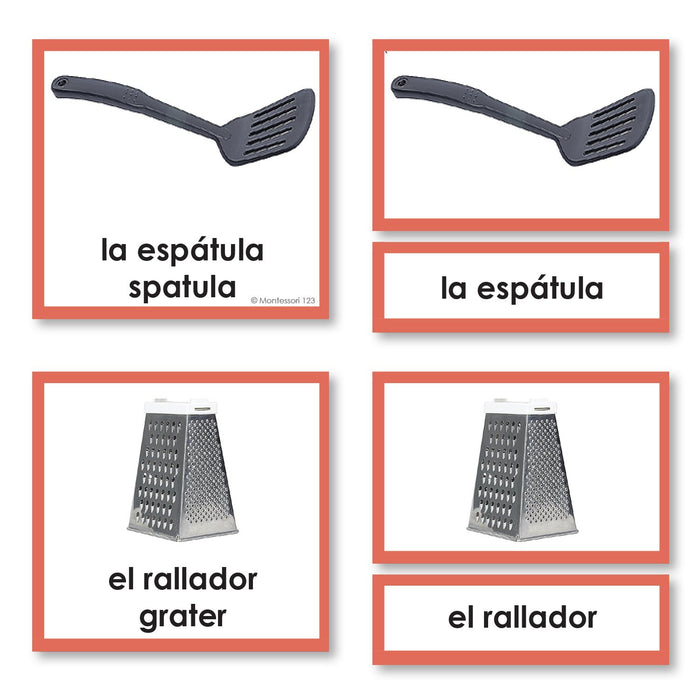 Language Arts-Spanish - Spanish Language Kitchen 3-Part Cards With Photographs
