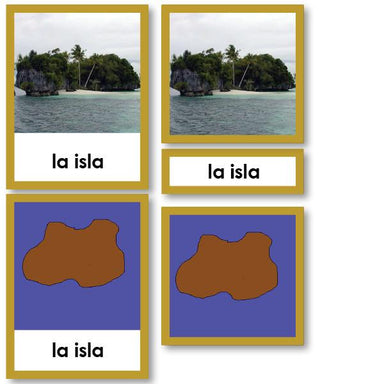 Language Arts-Spanish - Spanish Language Landform And Waterforms 3-Part Cards With Photos