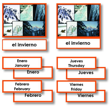 Language Arts-Spanish - Spanish Language Months Of The Year And Days Of The Week 3-Part Cards