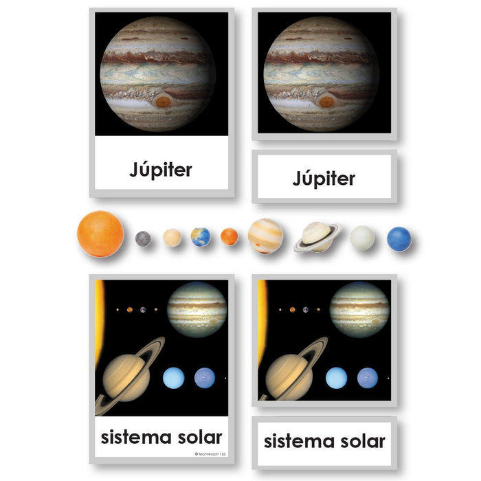Language Arts-Spanish - Spanish Language Planets 3-Part Cards With Objects