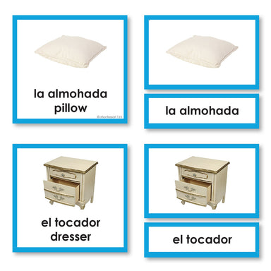 Language Arts-Spanish - Spanish Language Things Found In A Bedroom 3-Part Cards With Photographs