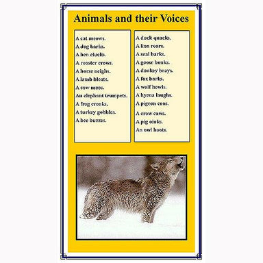 Language Arts-Vocabulary, Spelling & Editing - Animal Vocabulary Control Charts For Homes, Babies, Groups And More