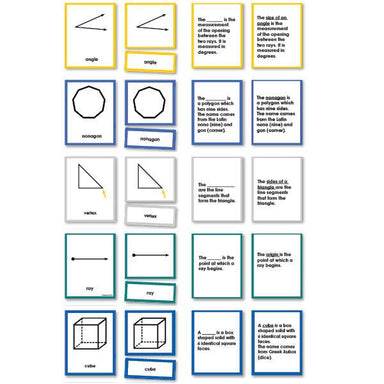 Math Materials-Geometry - Complete Set Geometry Nomenclature 3-Part Cards With Definitions