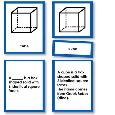 Math Materials-Geometry - Geometric Solids Nomenclature 3-Part Cards With Definitions