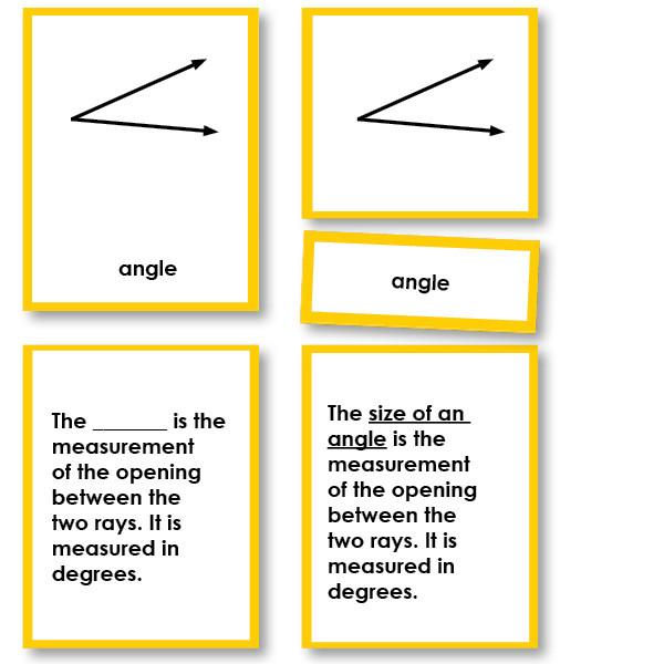 Math Materials-Geometry - Geometry Angles 3-Part Cards With Definitions