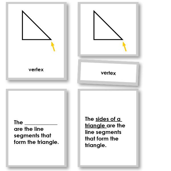 Math Materials-Geometry - Geometry Triangles 3-Part Cards With Definitions