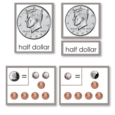 Math Materials-Money - Coin Equivalency 3-Part Cards With Working Charts
