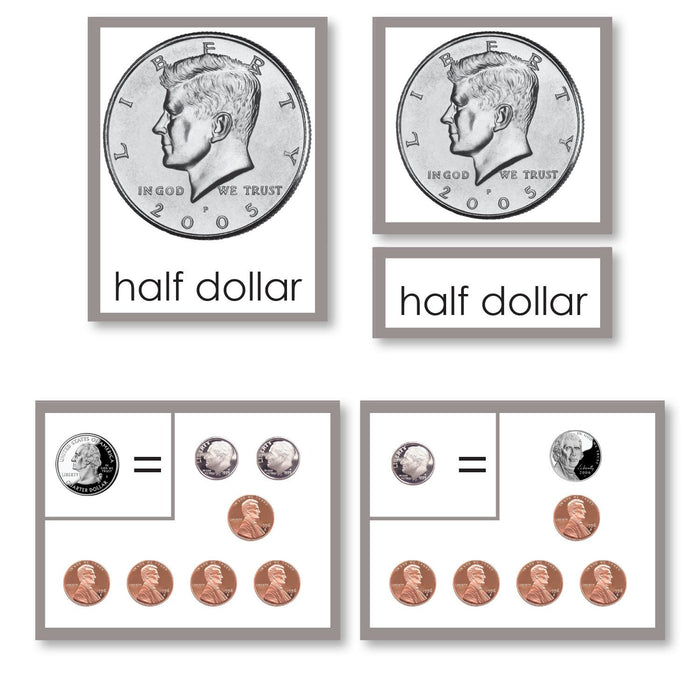 coin equivalency 3 part cards with working charts montessori 123math materials money coin equivalency 3 part cards with working charts