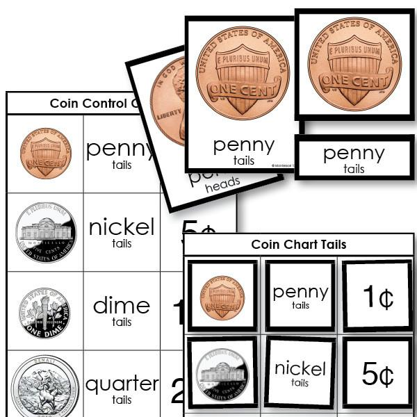 Math Materials-Money - Coin  Nomenclature  3-Part Cards With Working Charts