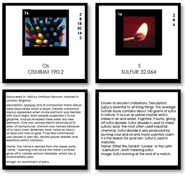 Physical Science-Chemistry - Periodic Table Of Elements Photographs With Text Cards And Table, Level 2