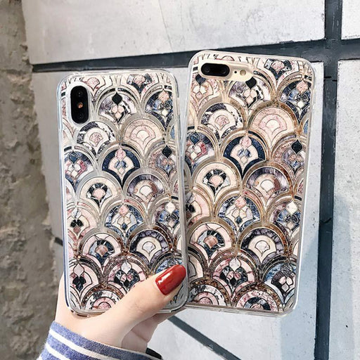 Bling Sequin Glitter Dynamic Liquid Marble Mermaid Scale Quicksand Phone Case for iPhone 11 Pro X XS Max XR