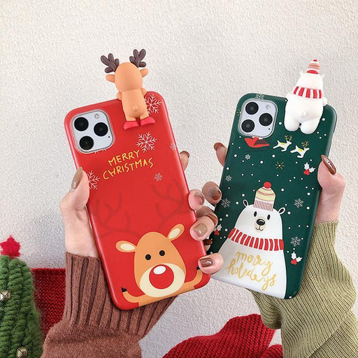 Christmas 3D Deer Snowman Phone Case Back Cover for iPhone