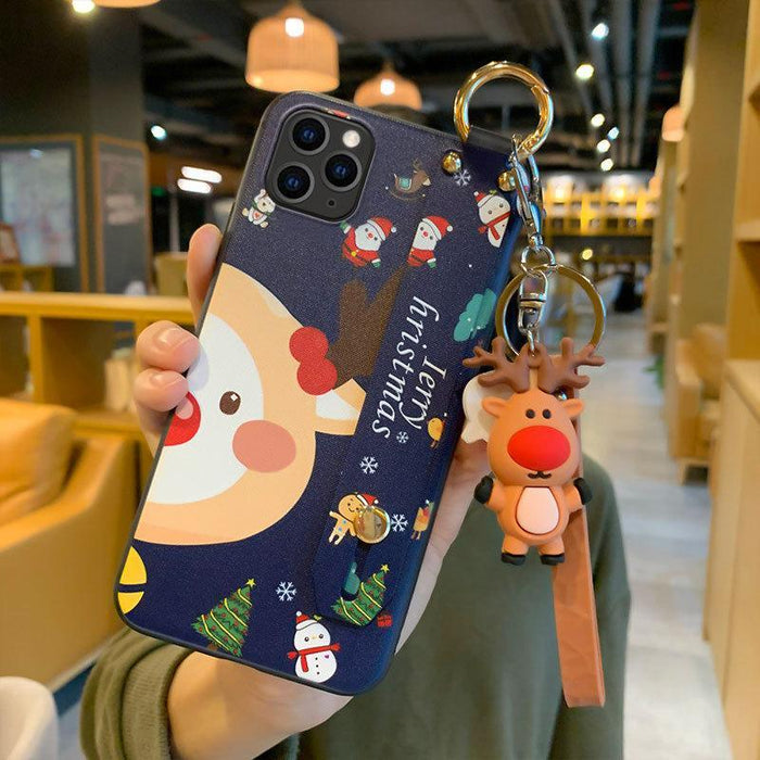 Christmas Cartoon Deer Case  Wrist strap bracket Matte Cover For Huawei Case