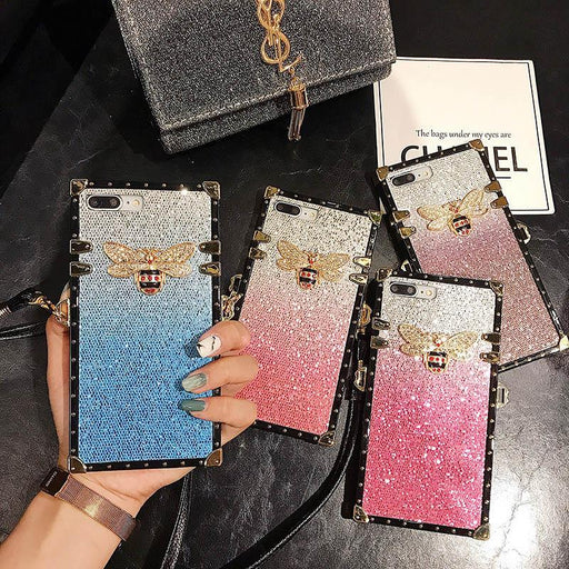 Rivet Square Gradient Glitter Lanyard Case For Huawei Back Cover