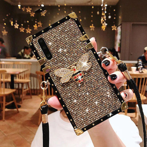 Fashion Rivet Square Bling Glitter Lanyard Phone Case For Samsung S10 S9 S8 Plus S10e Note 9 8 Back Cover