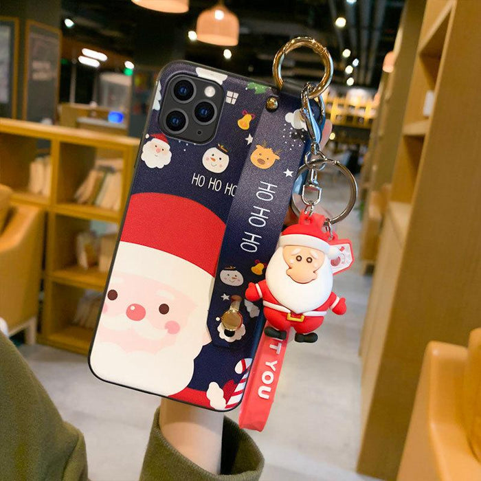Christmas Cartoon Deer Case  Wrist strap bracket Matte Cover For Samsung Case
