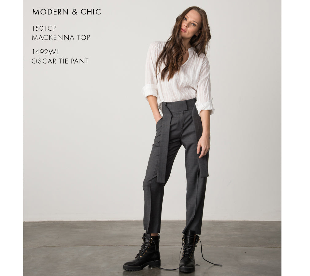 Modern and chic look: Mac Kenna Top & Oscar Tie Pant